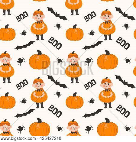 Halloween Kids Costume Party Seamless Pattern. Cute Ginger Girl In Pumpkin Costume . Vector Illustra