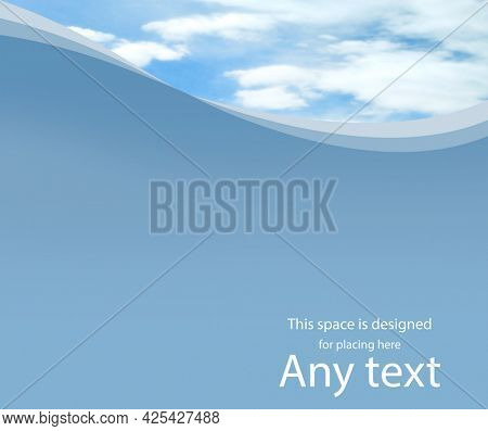 Beautiful blue sky with clouds. Template with blank area for any text. Copy-space background.