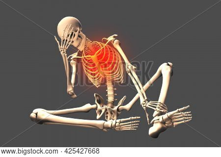 Human Skeleton In Unhappy Frustrated Pose, Conceptual 3d Illustration. Concept Of Painful Feelings I