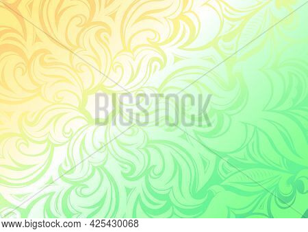Dreamy Gradient Wallpaper With Stylized Floral And Leafy Patterns, Background With A Soft Green Sunn