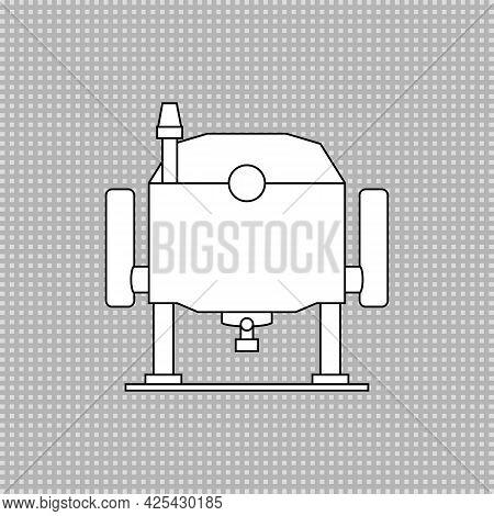 Electric Wood Plunge Router. Power Tool. Linear Outline Vector Drawing. White Silhouette.