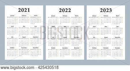 Calendar 2021, 2022, 2023 Week Starts On Monday, Basic Business Template. Vector Illustration