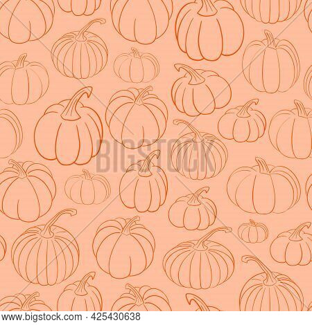 Cute Fall Vector Seamless Pattern Background With Various Hand Drawn Pumpkins In Outline. Sweet Autu