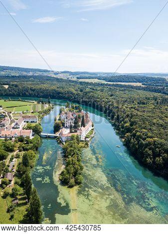Rheinau, Switzerland - 15.july.2018: Aerial View By Drone Over The Rheinau Islet With Rheinau Abbey
