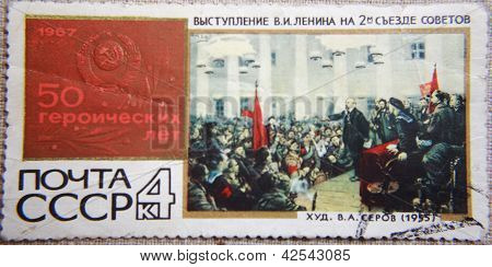 RUSSIA - CIRCA 1967: stamp printed by USSR shows speach of Lenin on second Sovet's meeting at 1917