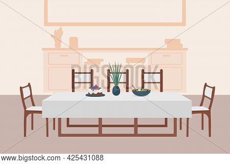 Luxury Dining Room Flat Color Vector Illustration. Comfortable Contemporary Household. Table With Ch