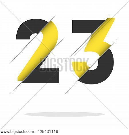 23 2 3 Number Logo Design With A Creative Cut And Black Circle Background. Creative Logo Design.