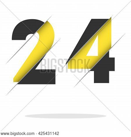 24 2 4 Number Logo Design With A Creative Cut And Black Circle Background. Creative Logo Design.