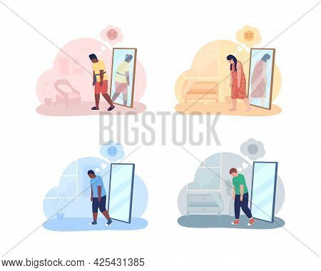 Teenager With Overweight Problem 2d Vector Isolated Illustration. Mental Health Issue. Obese Girl An