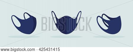 Center Seam Face Mask Black Mockup. Comfortable Fit Behind Ears. Face Covering Without Pleats. Cloth
