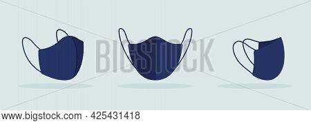 Face Mask With Thin Ties And Seam In Center Black Mockup. Consumer-grade Face Covering. Preventing R