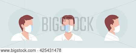 Center Seam Mask Wearer Semi Flat Color Vector Character Avatar Set. Portrait With Respirator From F