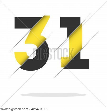 31 3 1 Number Logo Design With A Creative Cut And Black Circle Background. Creative Logo Design.
