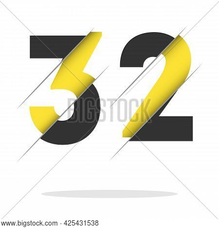 32 3 2 Number Logo Design With A Creative Cut And Black Circle Background. Creative Logo Design.