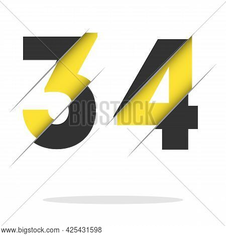 34 3 4 Number Logo Design With A Creative Cut And Black Circle Background. Creative Logo Design.