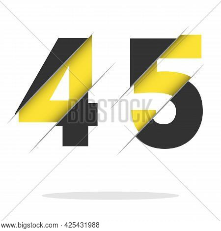 45 4 5 Number Logo Design With A Creative Cut And Black Circle Background. Creative Logo Design.