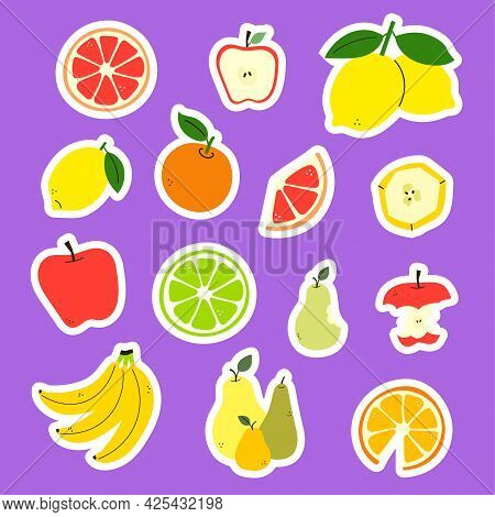 Positive Summer Sticker Pack. Collection Of Fruit Stickers. Sticker Bundle. Colorful Vector Vitamin