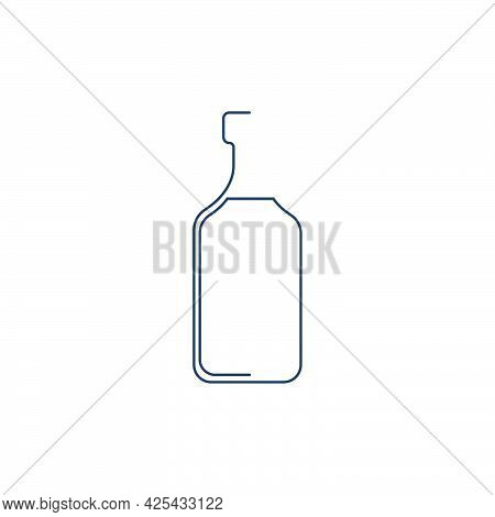 Bottle Continuous Line Rum In Linear Style On White Background. Solid Black Thin Outline. Modern Fla