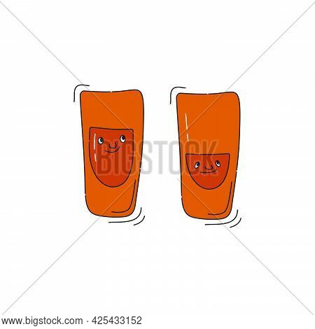 Rum Glassware With Smile Face On White Background. Cartoon Sketch Graphic Design. Doodle Style With