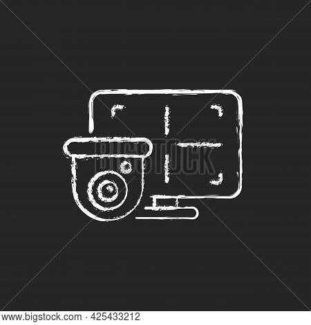 Cctv Monitor Chalk White Icon On Dark Background. Device For Surveillance Video In Real-time Display