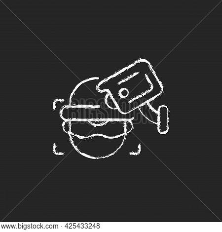 Criminal Detection With Surveillance Camera Chalk White Icon On Dark Background. Crime Prevention. F