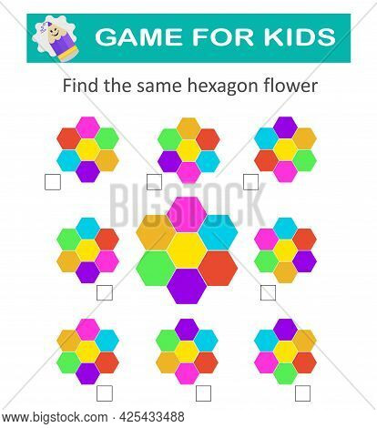 Find The Same Hexagon Flower. Education Logic Game. Activity Sheet For Kids. Funny Riddle.