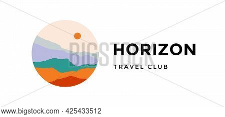 Logo, Logotype, Sign. Horizon, Travel Club. Logo With Abstract Landscape Mountain, Sky And Sunset Vi