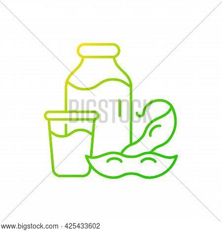 Soy Milk Gradient Linear Vector Icon. Plant Based Milk. Grinding Beans. Healthy Product Creation. Na