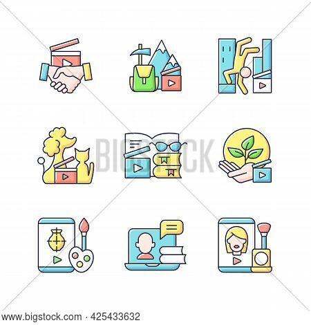 Video Content Rgb Color Icons Set. Business To Business Service. Entertainment Content. Educational