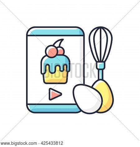 Cooking Video Rgb Color Icon. Culinary Courses Online. Cookery School For Learning Remotely. Prepari