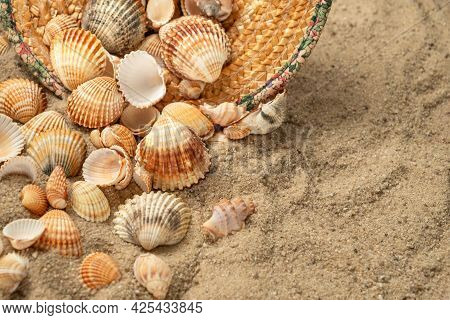 Seashells Scatter From Straw Hat Abandoned On Sandy Beach, Summer Background