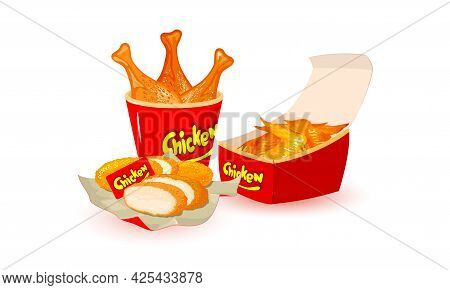 Collection Of Fried Chicken Legs, Wings And Breaded Nuggets Served In Paper Pack. Vector Unhealthy F