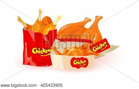 Fresh And Hot Fast Food Snack, Yummy Fried Chicken Parts From Oven. Vector Legs, Wings And Whole Hen