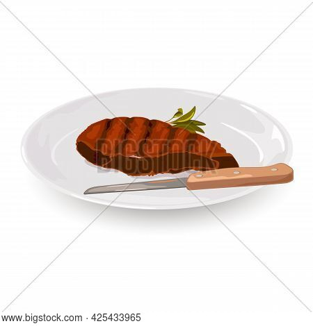 Juicy Fried Meat Served On Plate With Knife. Vector Restaurant Dinner, Nutritious Meal For One, Tast