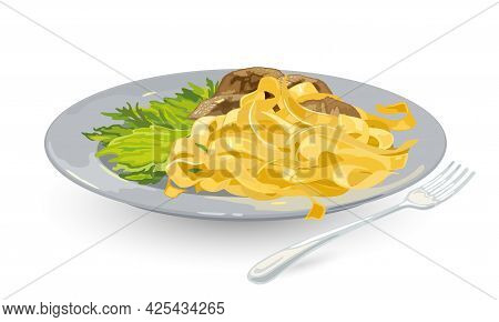 Cartoon Of Tagliatelle Pasta With Lettuce Leaves And Porcini Mushrooms With Cream Topping. Vector Na