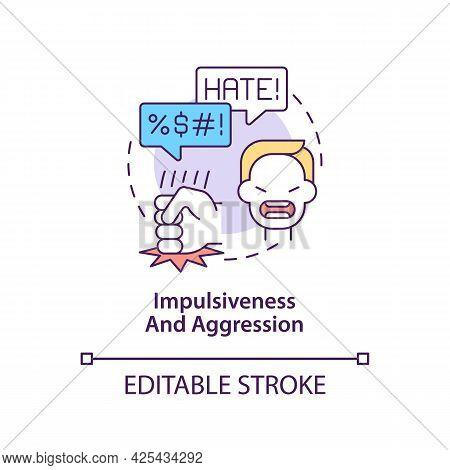 Aggressive And Impulsive Behaviors Concept Icon. Autism Symptom Abstract Idea Thin Line Illustration