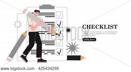 Business Man Holding Giant Pencil Looking At Completed Checklist On Clipboard Marking Tasks. Concept