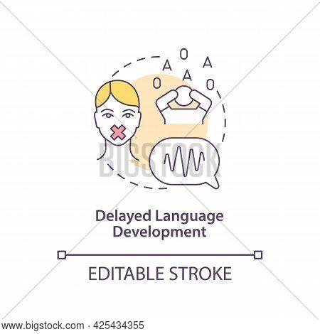 Delayed Language Development Concept Icon. Autism Sign Abstract Idea Thin Line Illustration. Having