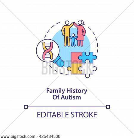Family Autism History Concept Icon. Autism Risk Factor Abstract Idea Thin Line Illustration. Dna Mut
