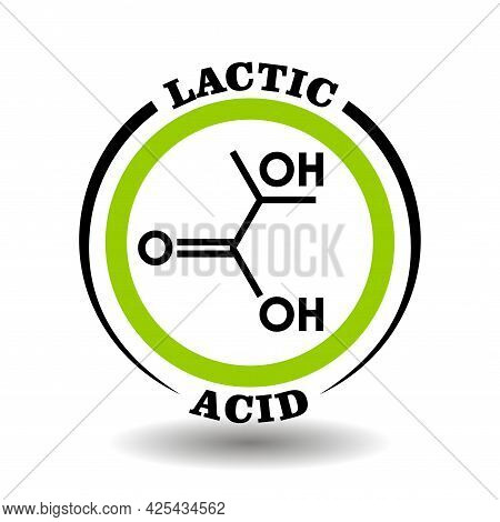 Circle Vector Icon With Chemical Formula Of Lactic Milk Acid Symbol For Packaging Signs Of Cosmetics