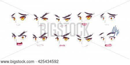 Anime Manga Boy Expressions Eyes Set. Japanese Cartoon Style