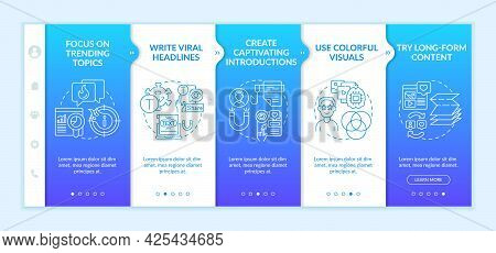 Popular Content Creation Tips Onboarding Vector Template. Responsive Mobile Website With Icons. Web