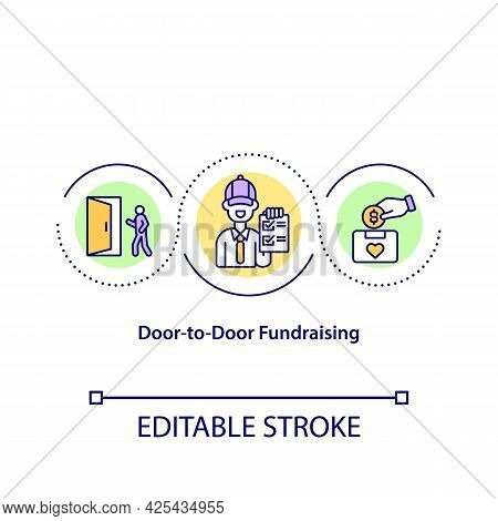 Door To Door Fundraising Concept Icon. Finding People To Invest Money Into Charity Program. Funds Co