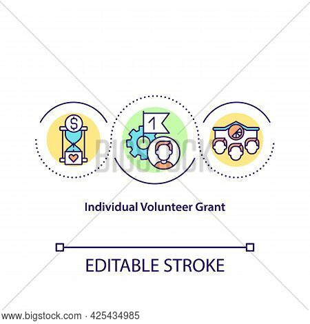 Individual Volunteer Grant Concept Icon. Paying People For Charity. Person Working Without Getting M