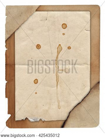 Old Paper With Scratches And Stains Texture Isolated