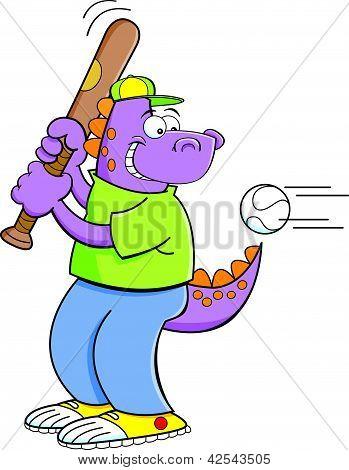 Cartoon illustration of a dinosaur hitting a baseball. poster