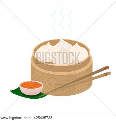 Baozi Mantou Momo Khinkali. Asian Traditional Food Dumplings In Bamboo Steamer. Vector Icon With Chi