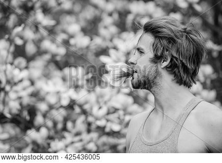 Spring Beauty. Hairdo Styling. Hair Care And Beauty. Unshaven Man Magnolia Bloom. Beautiful Hairstyl