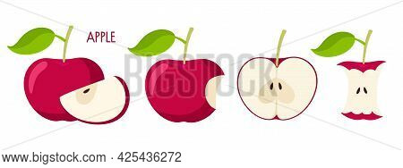 Apple Set. Flat Icon Red Apple Fruit With Leaf, Bitten, Cut, Core. Farmer Market Logo. Organic Food