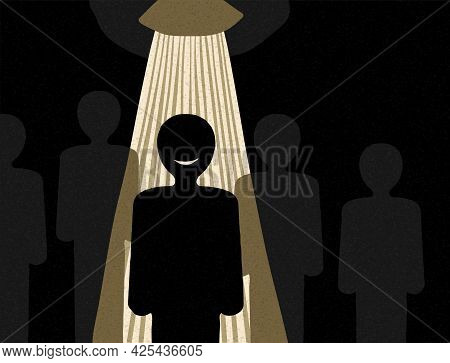 Recruitment Or Leadership Concept People Row With Spotlight Highlighted Selected One - Abstract Crea
